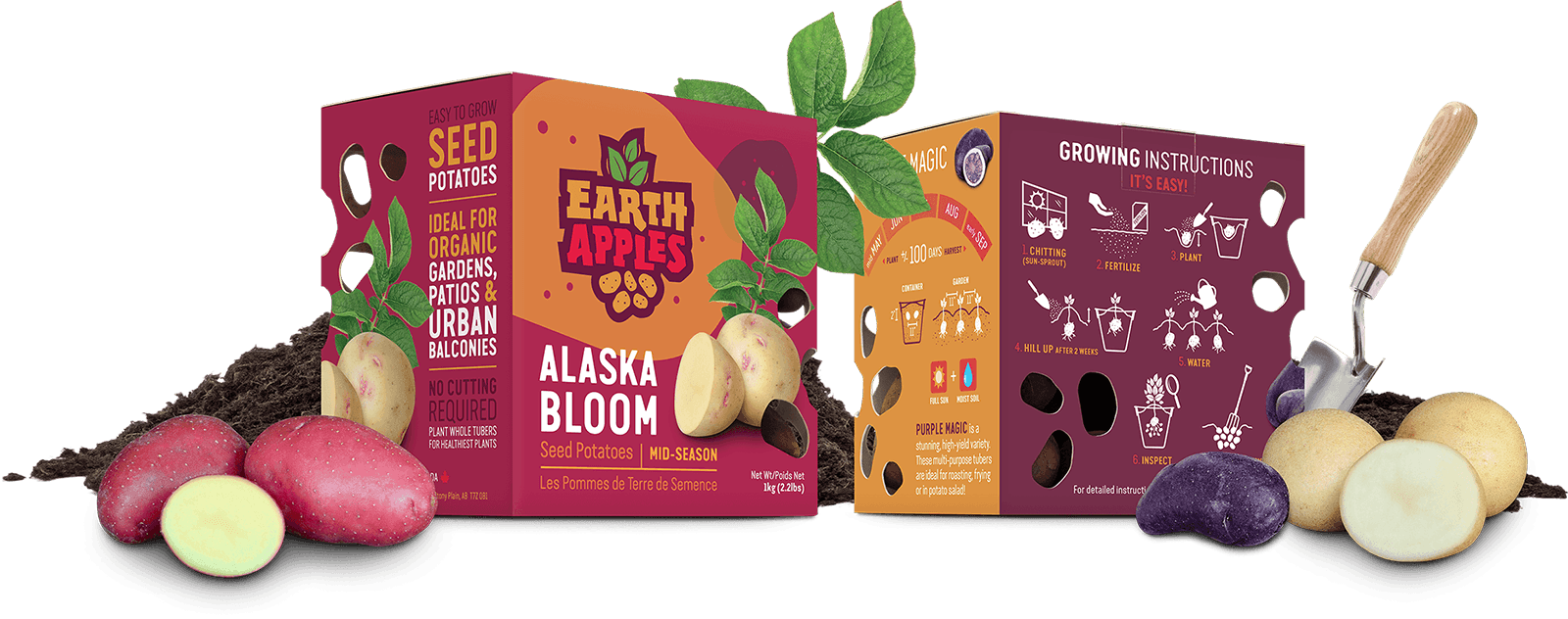 Creative, fun and playful potatoe package design for Earth Apples